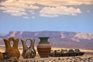 arizona landscape with native american pottery